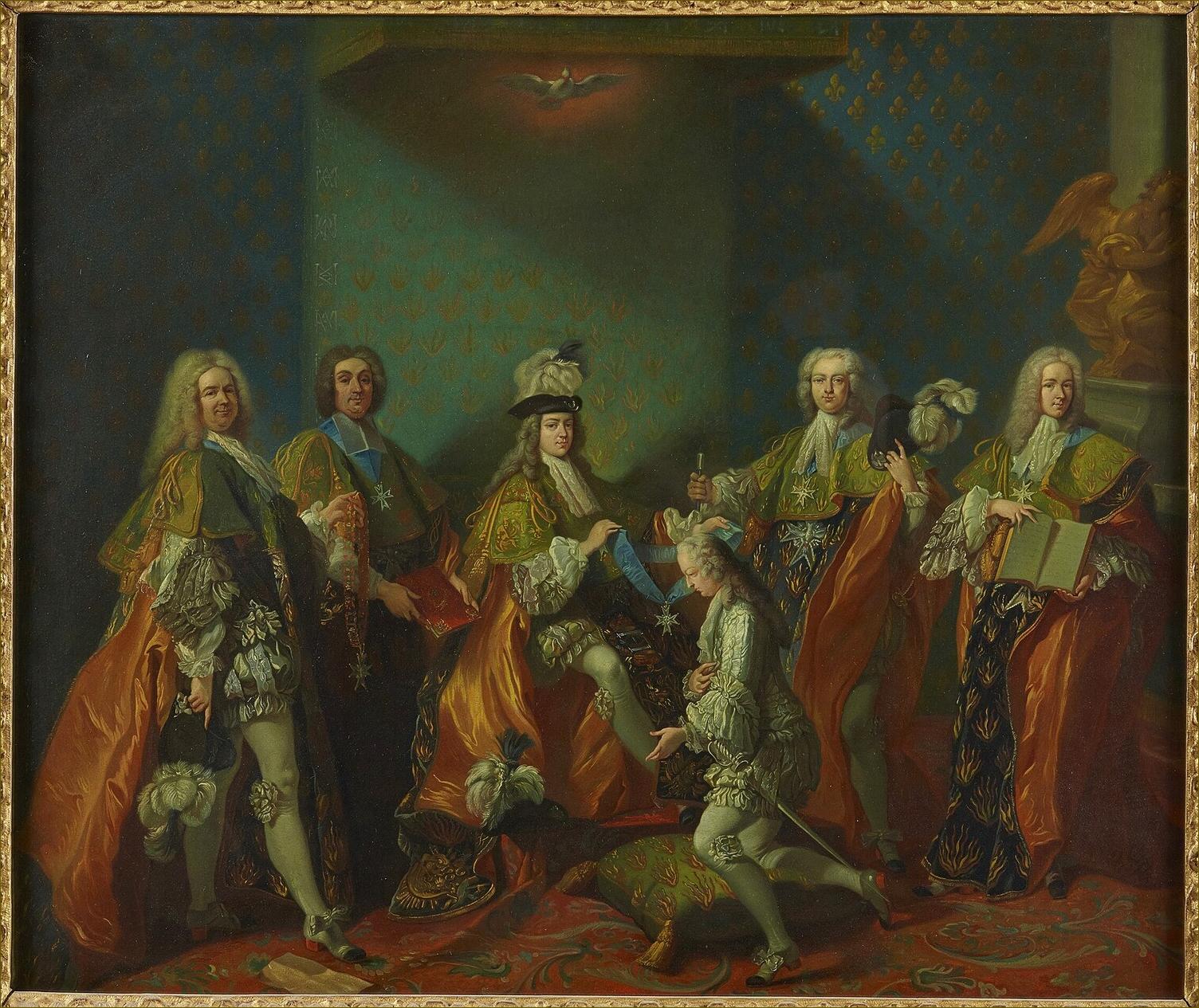Louis XV, roi de France, âgé de 14 ans, recevant dans l'Ordre du Saint-Esprit son cousin Louis de Bourbon-Condé, comte de Clermont, le 7 juin 1724, par Jean-Baptiste Van Loo