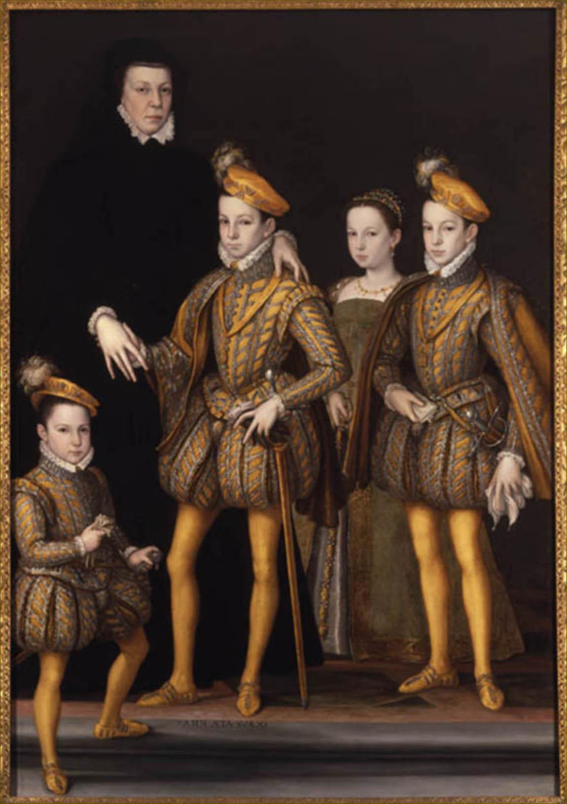 Catherine de Médicis, reine de France, en 1561, avec quatre de ses enfants, par Clouet