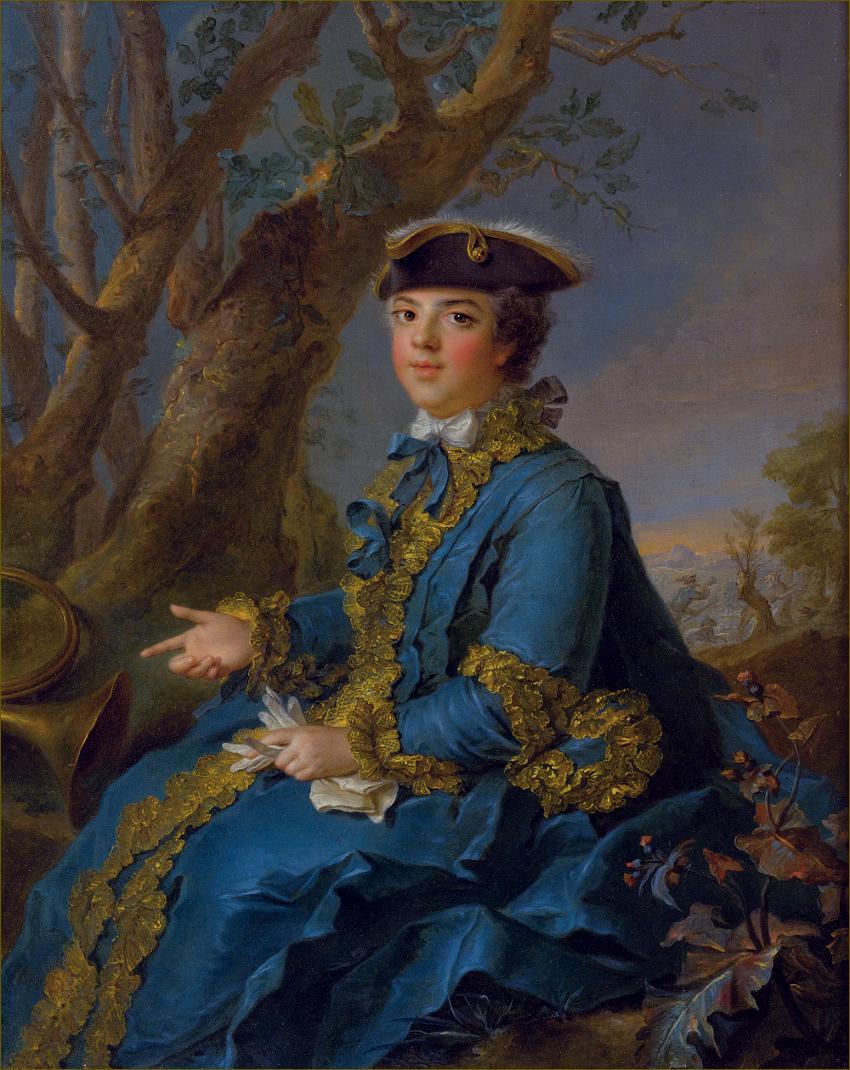 Altesses : Madame Elisabeth de France, duchesse de Parme, en habit de chasse,  atelier de Nattier