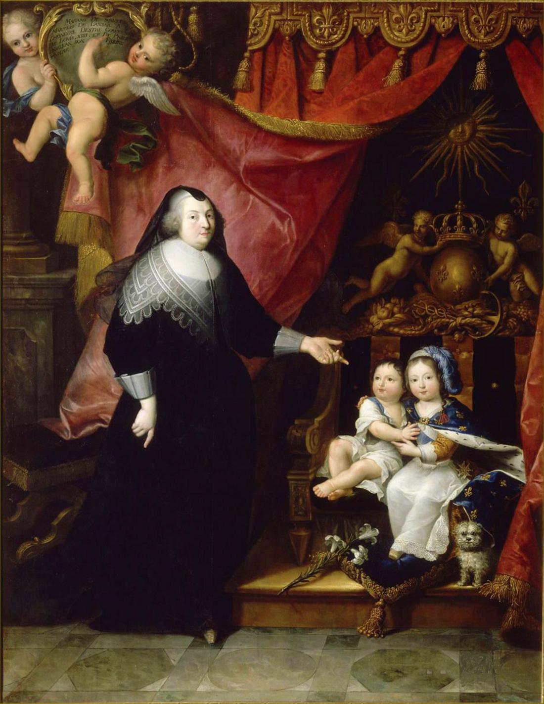 Louis XIV, roi de France, et son frère Philippe, duc d'Anjou puis d'Orléans, avec leur gouvernante Françoise de Souvré, marquise de Lansac