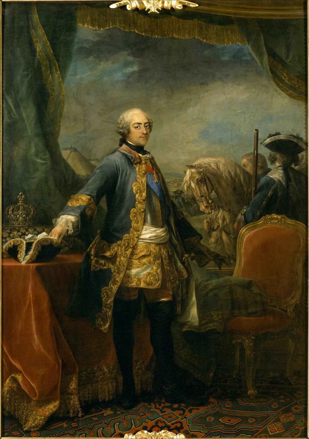 Louis XV, roi de France, âgé de 37 ans, pendant la campagne de Flandres de 1747, par Carle Van Loo