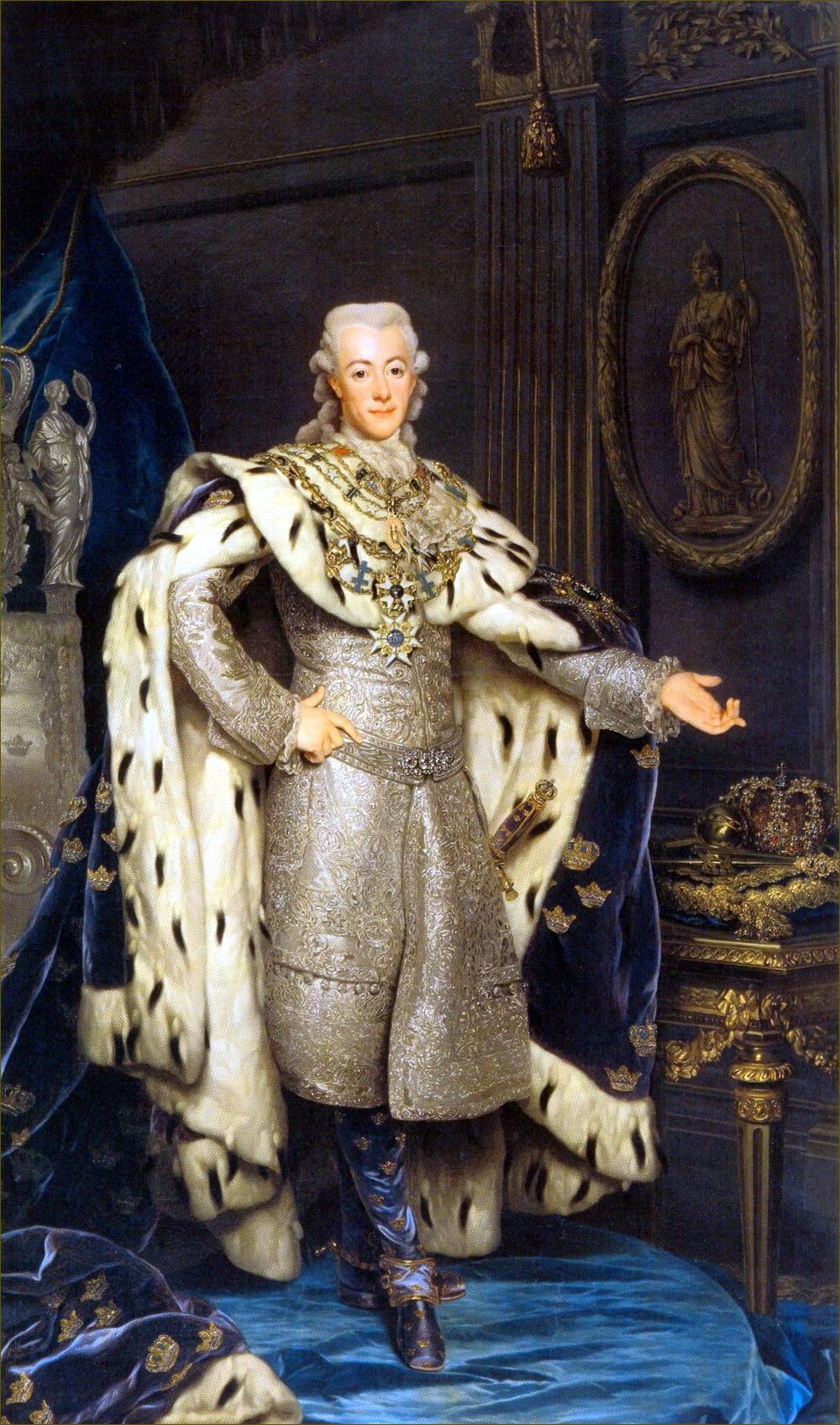 Gustave III, roi de Suède, en grand costume royal, à 31 ans, en 1777, par Roslin