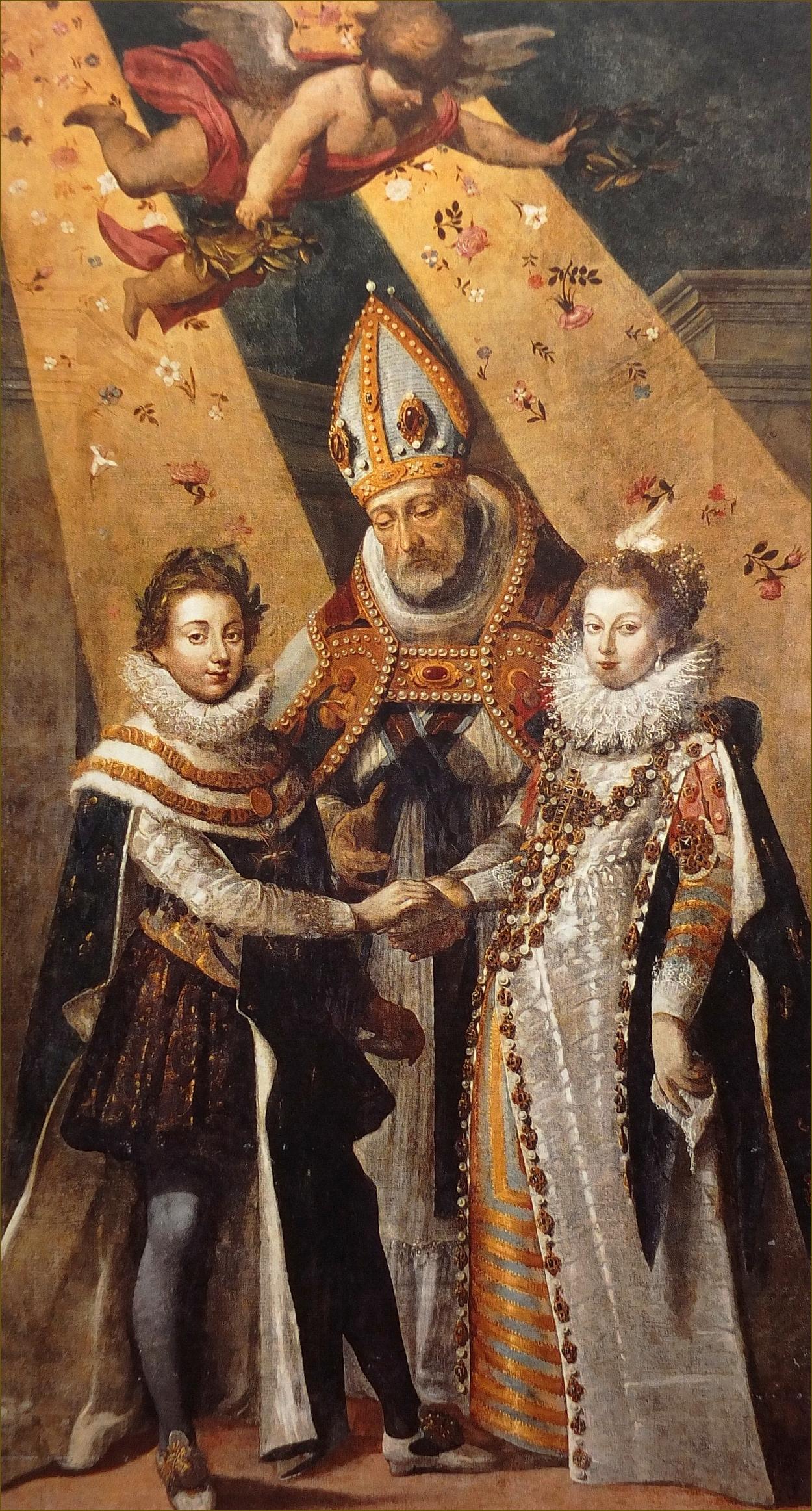 Mariage de Louis XIII et Anne d'Autriche, le 25 novembre 1615, à Bordeaux, béni par Mgr Le Cornu de la Courbe de Brée, évêque de Saintes, par Jean Chalette