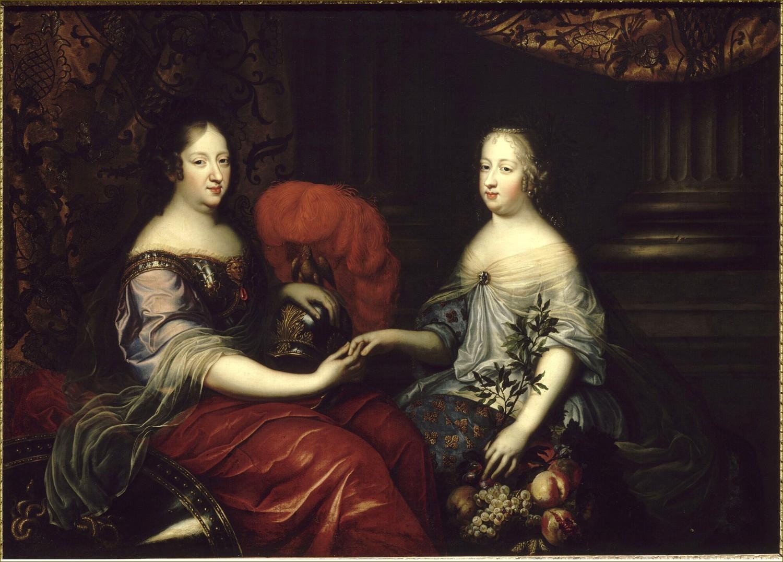 Anne d'Autriche et sa nièce et belle-fille Marie-Thérèse d'Autriche, reines de France, en Minerve et en Astrée, en 1664, par Renard de Saint-André
