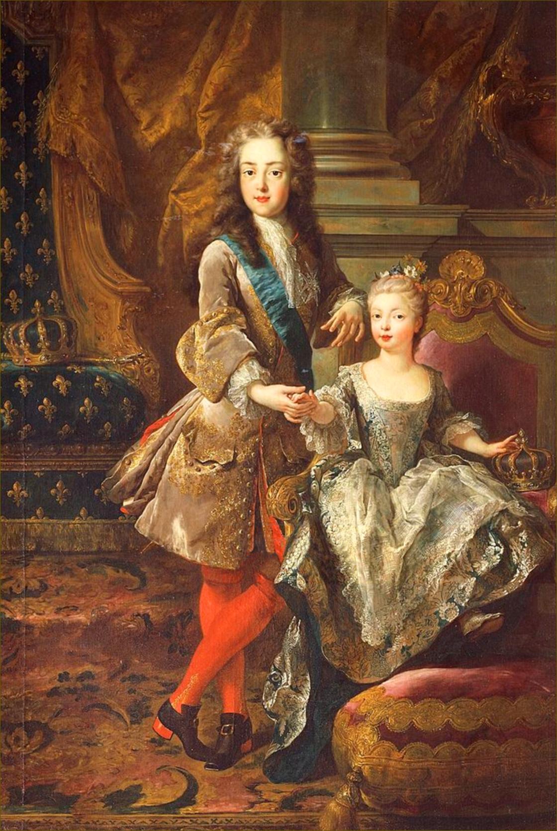 Louis XV, roi de France, âgé de 13 ans, en 1723, avec sa fiancée Marie-Anne-Victoire de Bourbon, infante d'Espagne, par De Troy