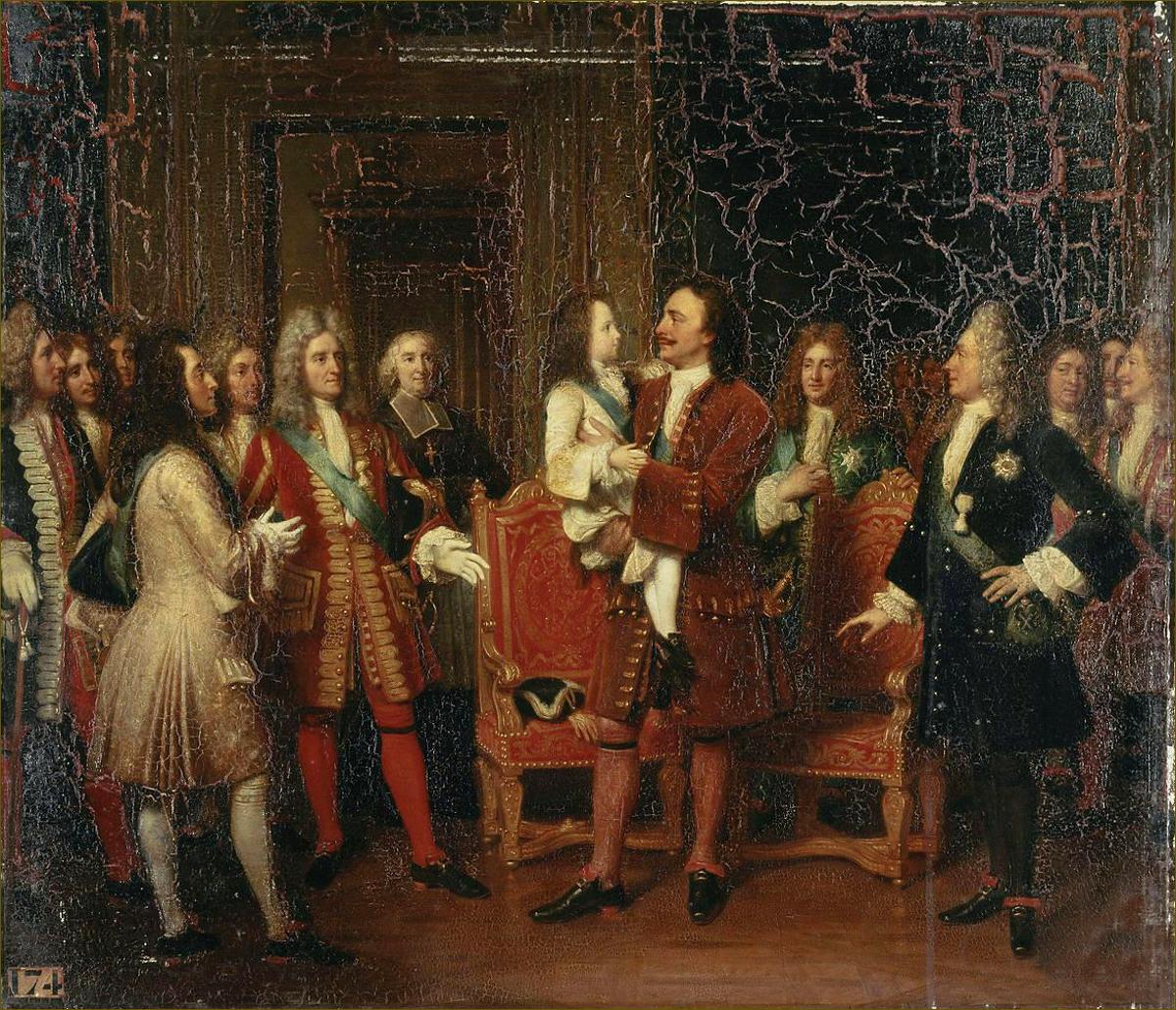 Louis XV, roi de France, enfant, porté dans les bras de Pierre le Grand, tsar de Russie, en visite en France en 1717, par Hersent
