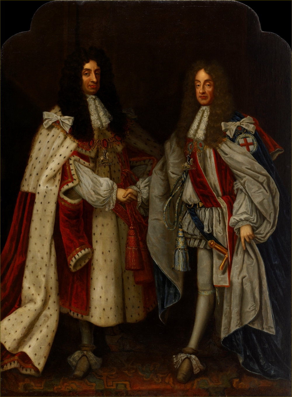 Charles II, roi d'Angleterre, avec son frère Jacques, duc d'York, futur Jacques II