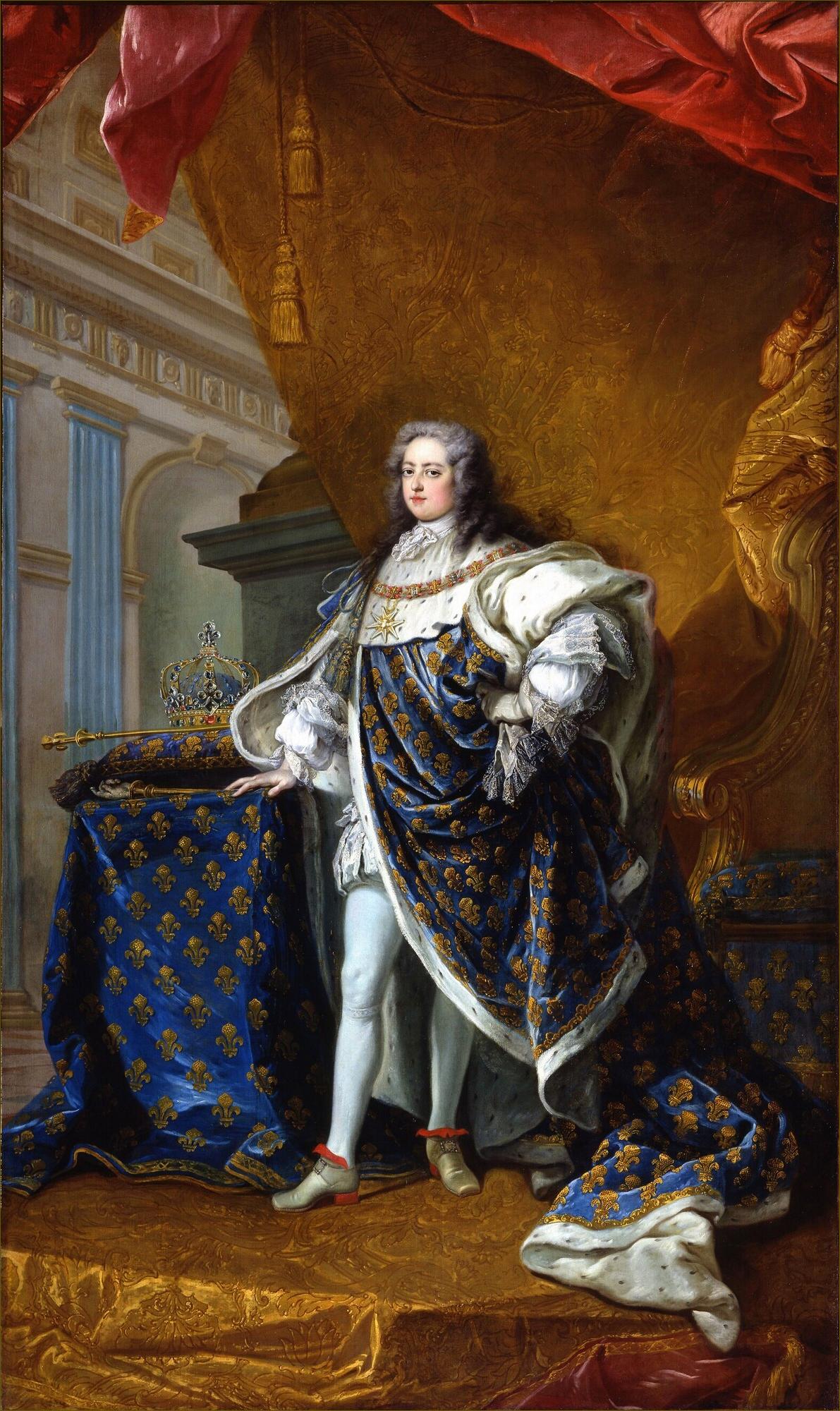 Louis XV, roi de France, âgé de 18 ans, en costume royal, en 1728, par Jean-Baptiste Van Loo
