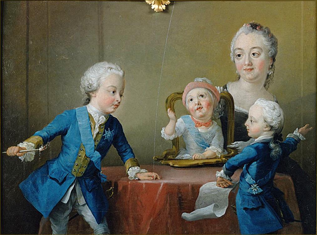 Louise-Ulrique de Prusse, reine de Suède, avec ses trois fils Gustave, Charles et Frédéric, en 1752, par Pasch et Lundberg