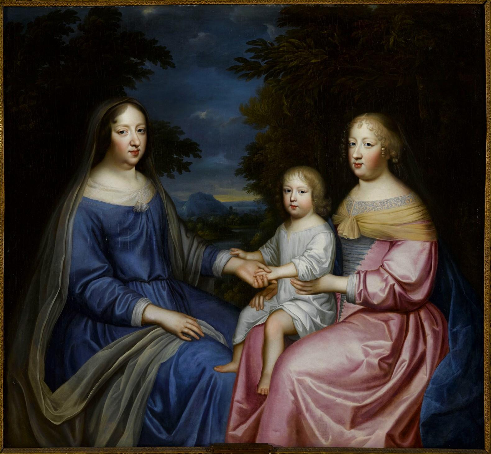 Marie-Thérèse d'Autriche, reine de France, avec sa tante et belle-mère Anne d'Autriche, et son fils le Grand Dauphin, par Beaubrun