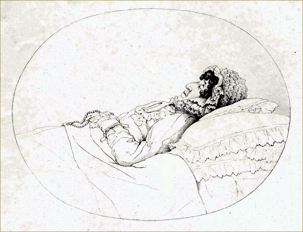 Marie-Béatrice d'Este, archiduchesse d'Autriche-Modène, sur son lit de mort