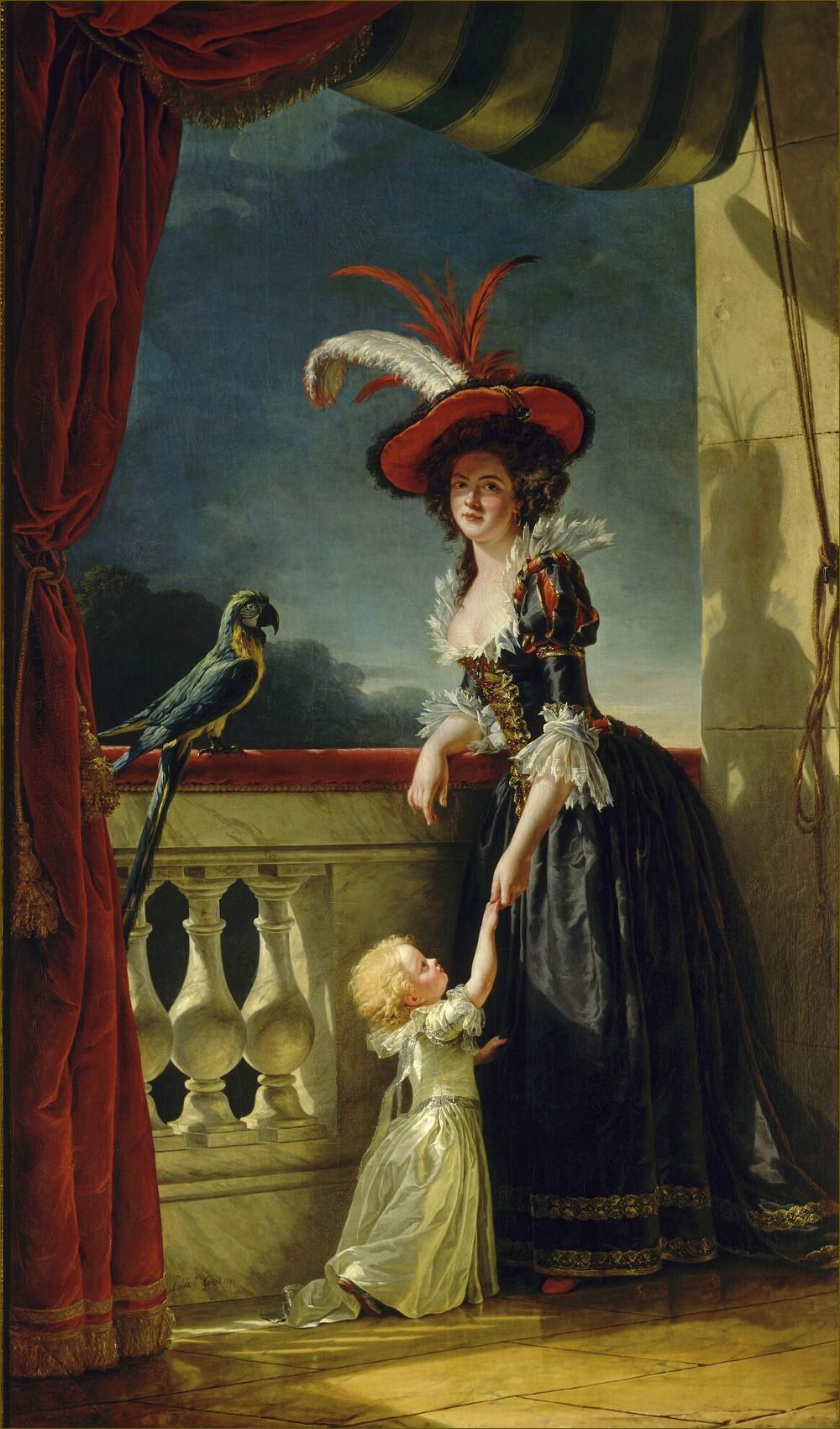 Madame Elisabeth de France, duchesse de Parme, et son fils Ferdinand, portrait posthume, par Mme Labille-Guiard (1787)