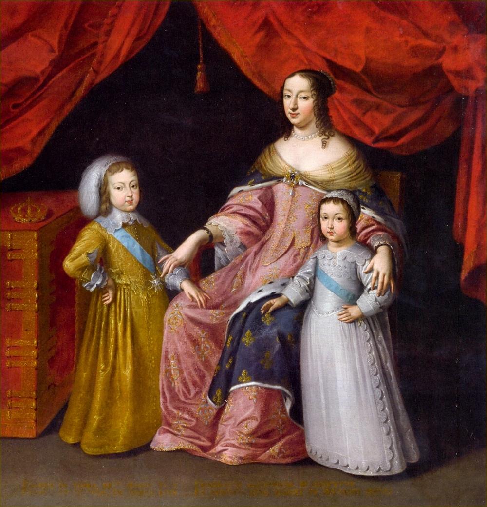 Anne d'Autriche, infante d'Espagne, reine de France, avec ses deux fils Louis XIV, roi de France, et Philippe, duc d'Anjou puis d'Orléans, vers 1645, école française