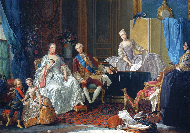 Philippe de Bourbon et Elisabeth de France, duc et duchesse de Parme, avec leurs enfants, en 1757, par Baldrighi