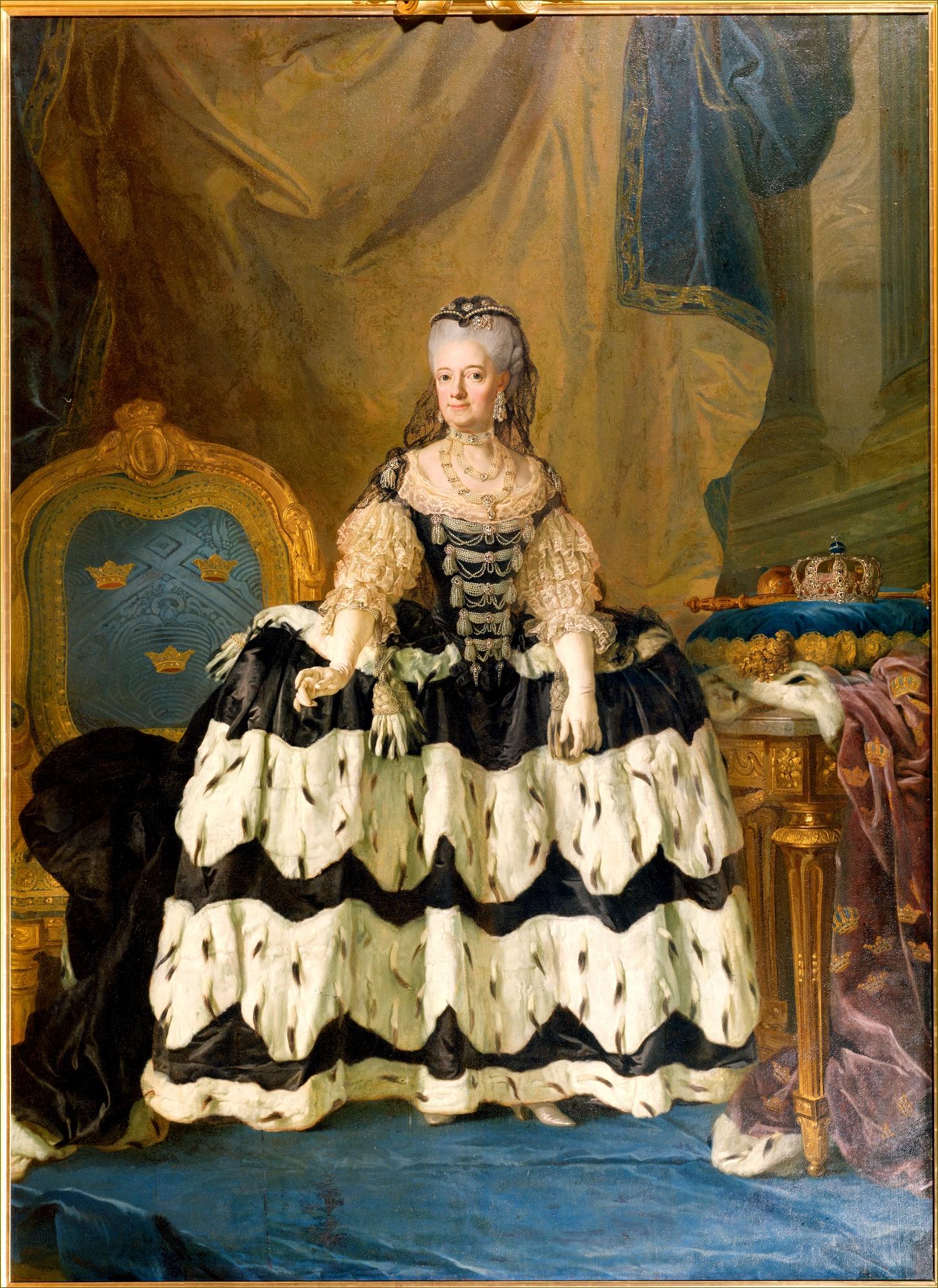 Louise-Ulrique de Prusse, reine de Suède, à 55 ans, en 1775, par Pasch