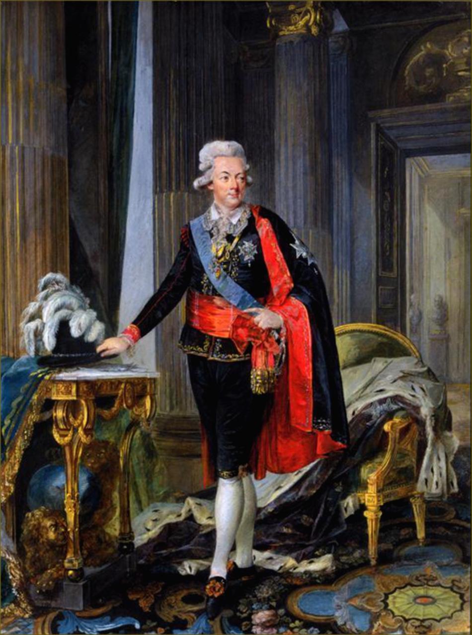 Gustave III, roi de Suède, portant le costume de cour national suédois de sa création, vers 1785, par Lafrensen