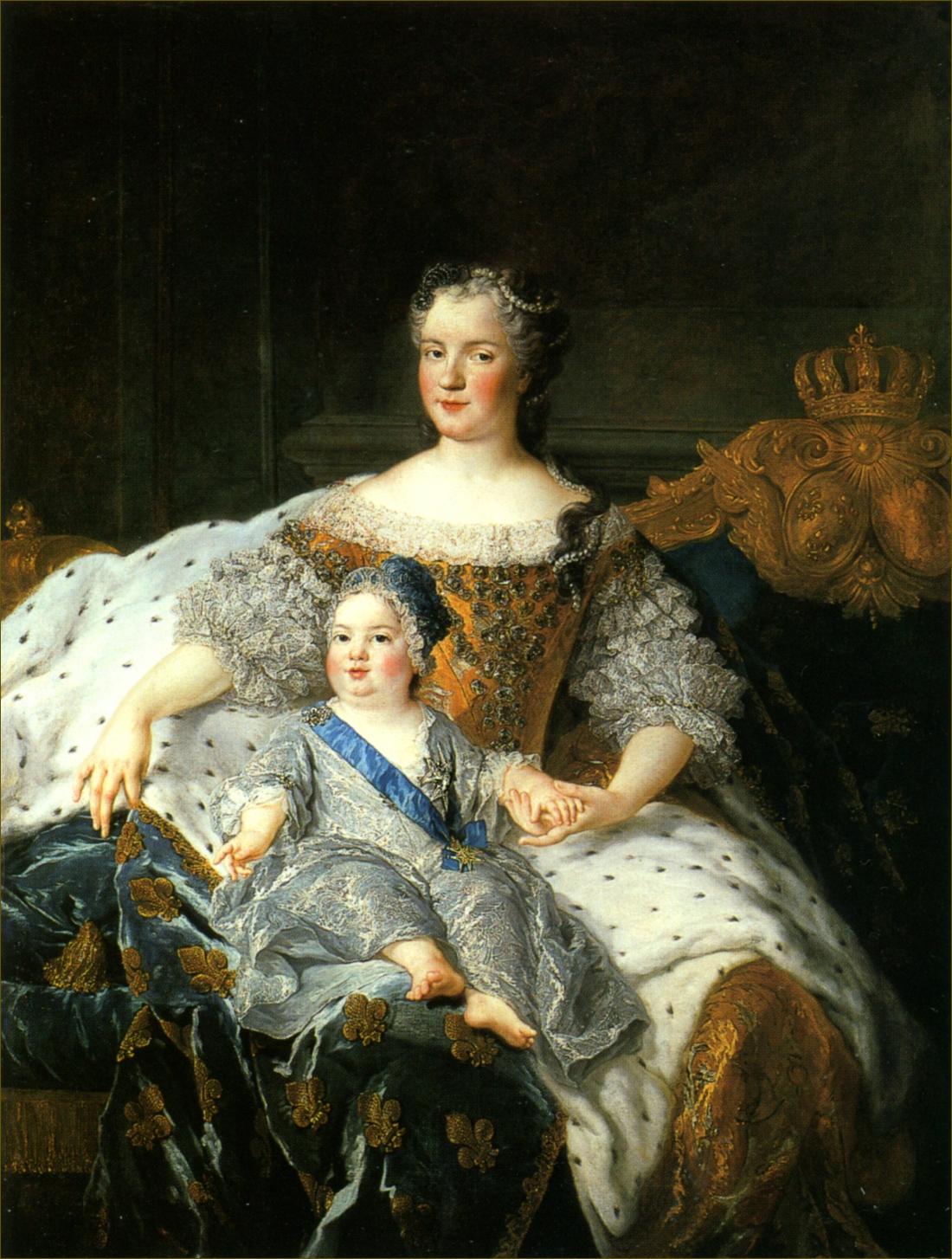 Marie Leczinska, reine de France, à 26 ans, avec son fils Louis, dauphin de France, en 1729, par Belle