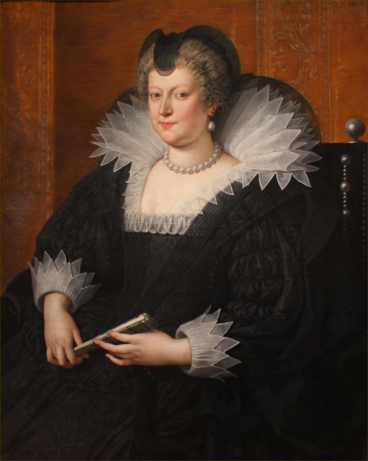 Marie de Médicis, reine de France et de Navarre, en veuve, à 41 ans, en 1616, par Pourbus