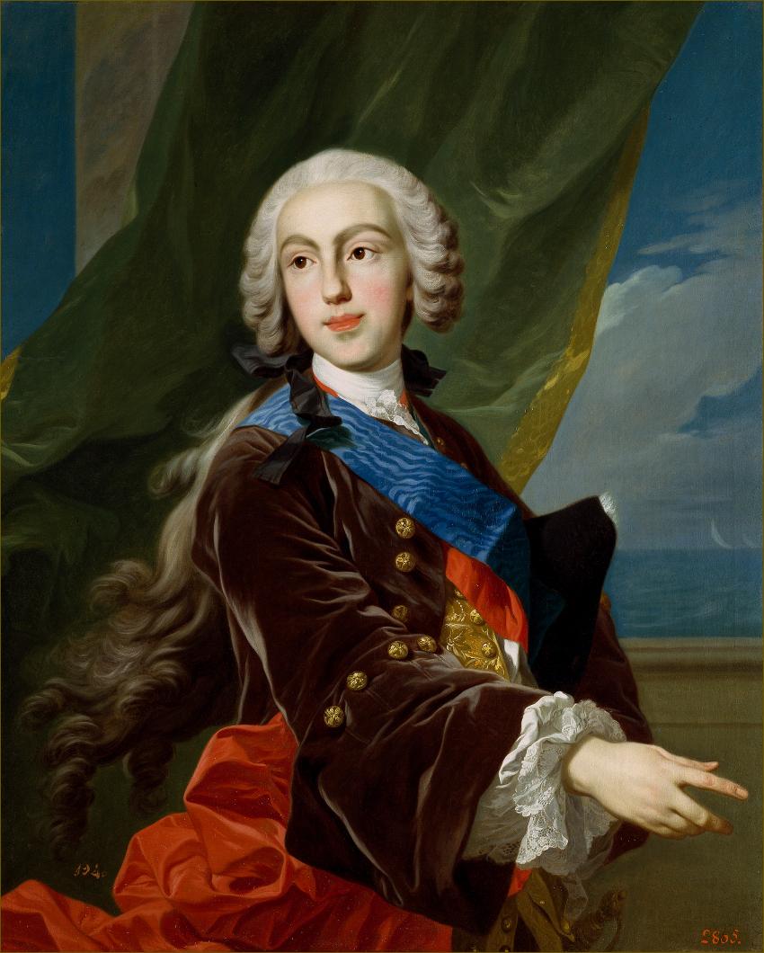 Philippe de Bourbon, infant d'Espagne, duc de Parme, à 23 ans, en 1743, par Louis-Michel Van Loo