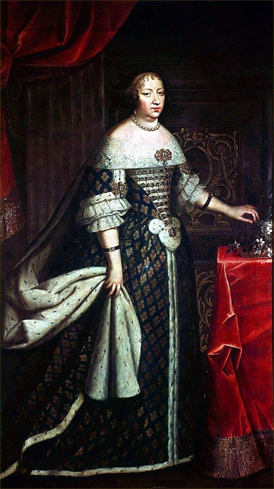 Anne d'Autriche, infante d'Espagne, reine de France, en costume royal, vers 1650, copie autrichienne d'après Beaubrun