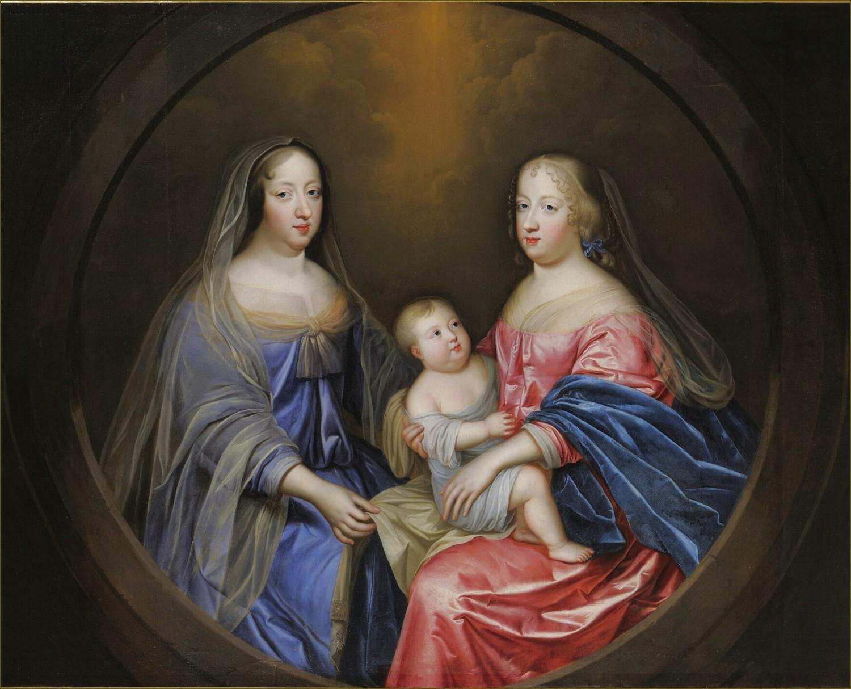 Anne d'Autriche, reine de France, avec sa nièce et belle-fille Marie-Thérèse d'Autriche et son petit-fils le Grand Dauphin, par Beaubrun