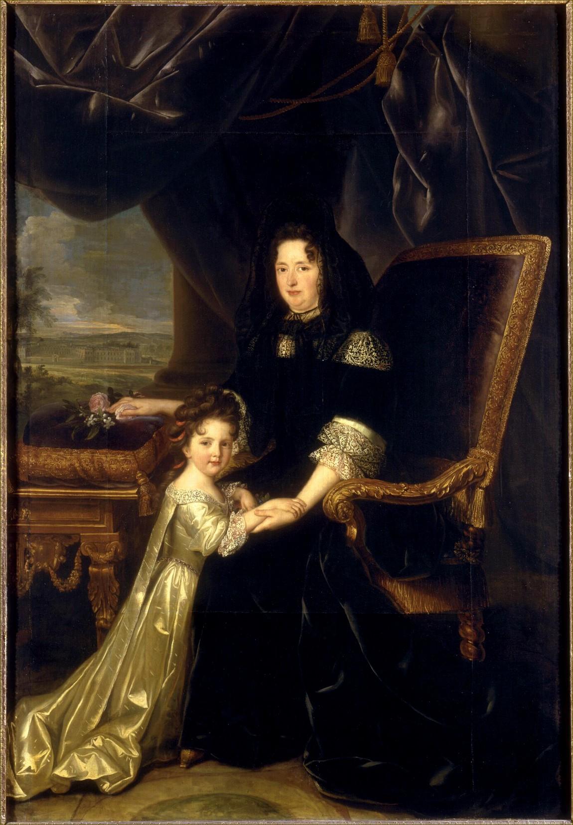 Françoise d'Aubigné, marquise de Maintenon, épouse secrète de Louis XIV, roi de France, avec sa nièce Charlotte-Amable d'Aubigné, future duchesse de Noailles, par Elle
