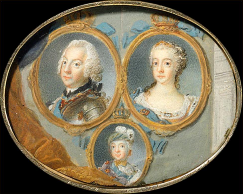 Adolphe-Frédéric et Louise-Ulrique de Prusse, roi et reine de Suède, avec leur fils le futur Gustave III, par Lafrensen