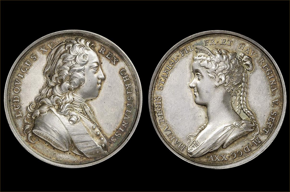 Médaille frappée à l'occasion du mariage de Louis XV et de Marie Leczinska, roi et reine de France, en 1725