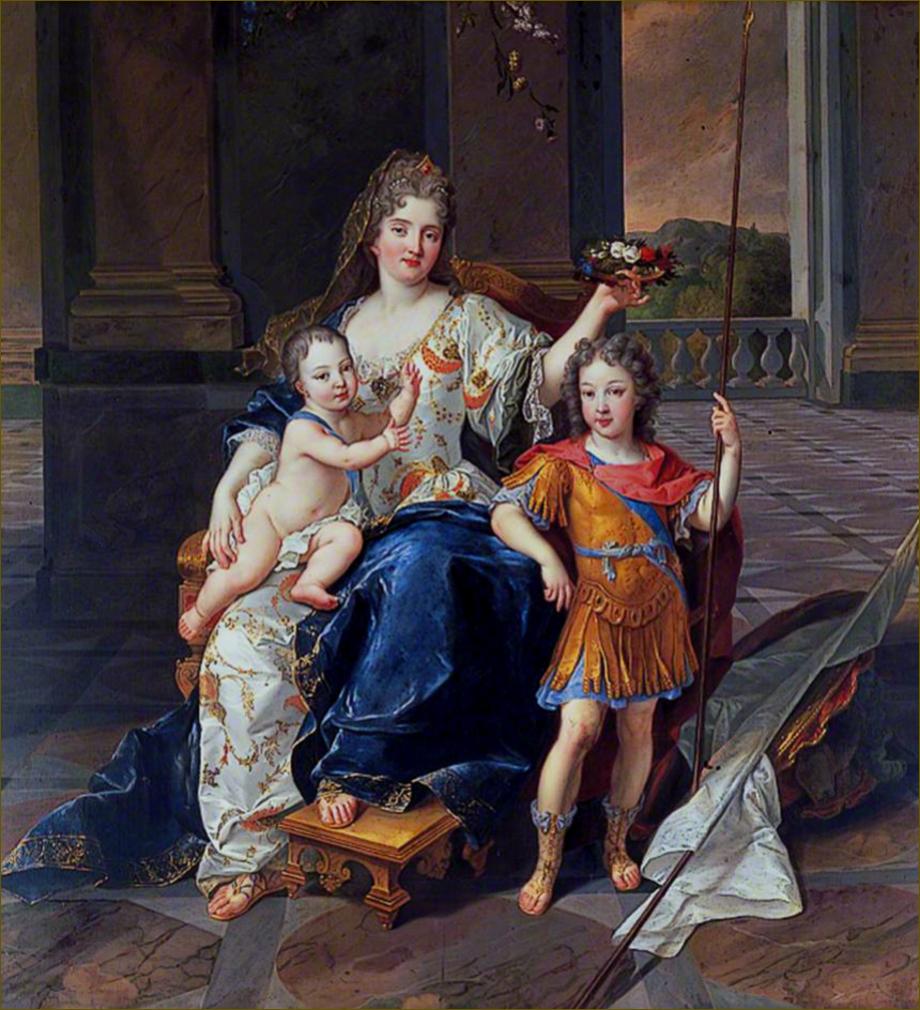 Louis XV, roi de France, alors duc d'Anjou, et son frère aîné le duc de Bretagne, avec leur gouvernante (et sa marraine), Marie-Isabelle de la Mothe-Houdancourt, duchesse de la Ferté, par De Troy