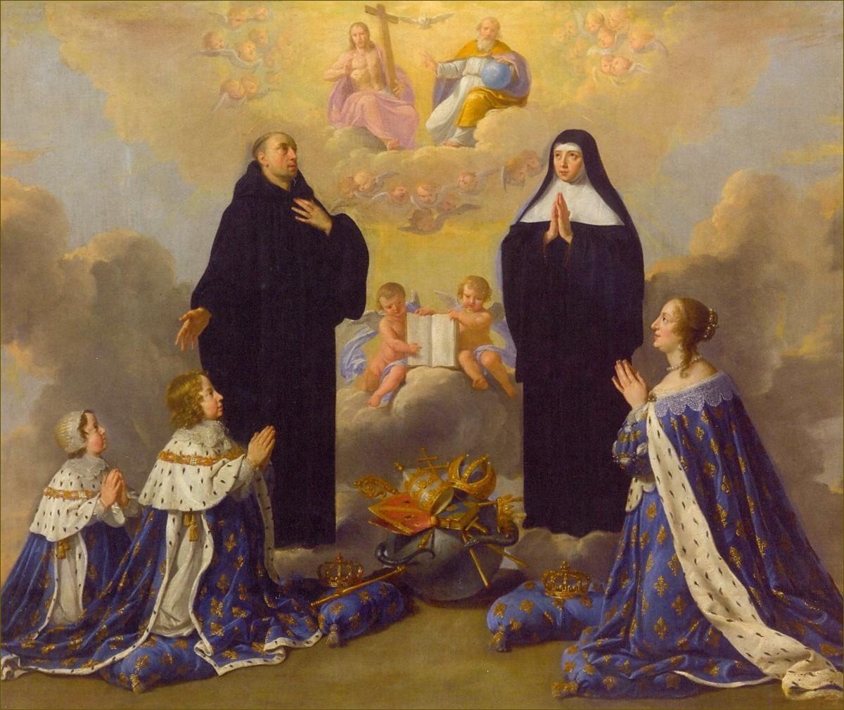 Anne d'Autriche et ses deux fils, présentés par St Benoît et Ste Scholastique, adorant la Sainte-Trinité, en 1646, par Philippe de Champaigne