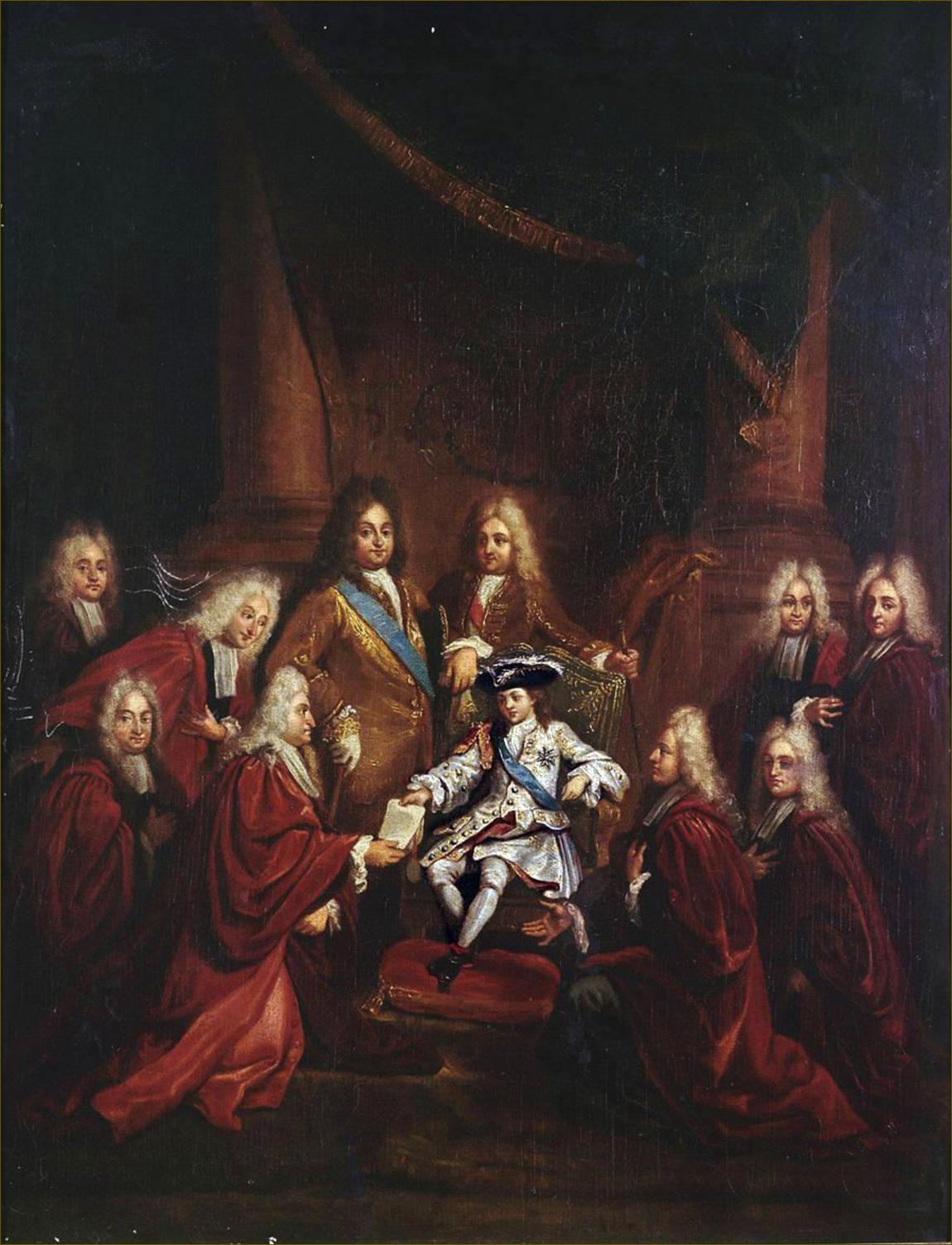 Louis XV, roi de France, à 6 ans, en 1716, accordant des lettres de noblesse à des échevins de la Ville de Paris, en présence de son cousin Philippe, duc d'Orléans, Régent de France, par Louis de Boulogne