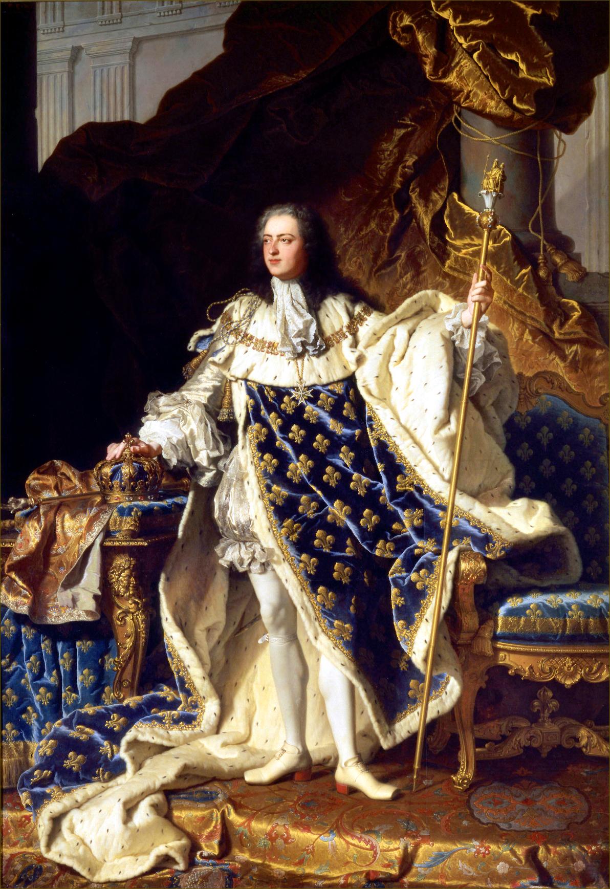 Louis XV, roi de France, âgé de 20 ans, en costume royal, en 1730, par Rigaud