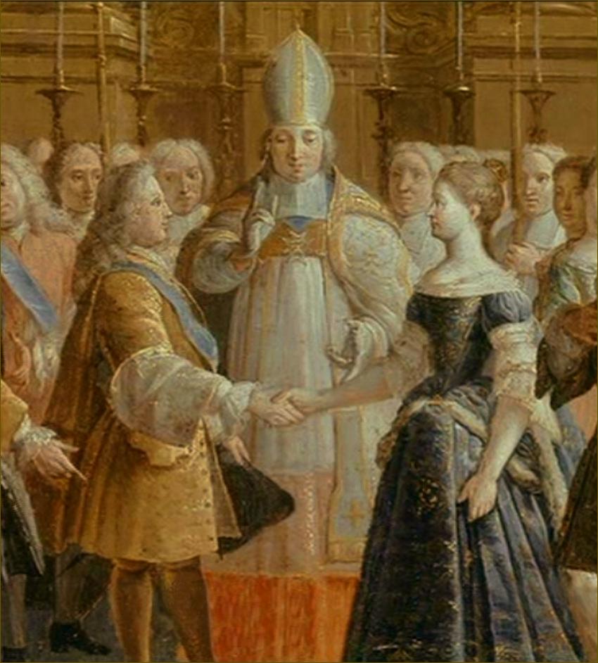 Mariage par procuration de Marie Leczinska, à Strasbourg, le 15 août 1725 (Louis, duc d'Orléans, représentant Louis XV), béni par le cardinal de Rohan, prince-évêque de Strasbourg