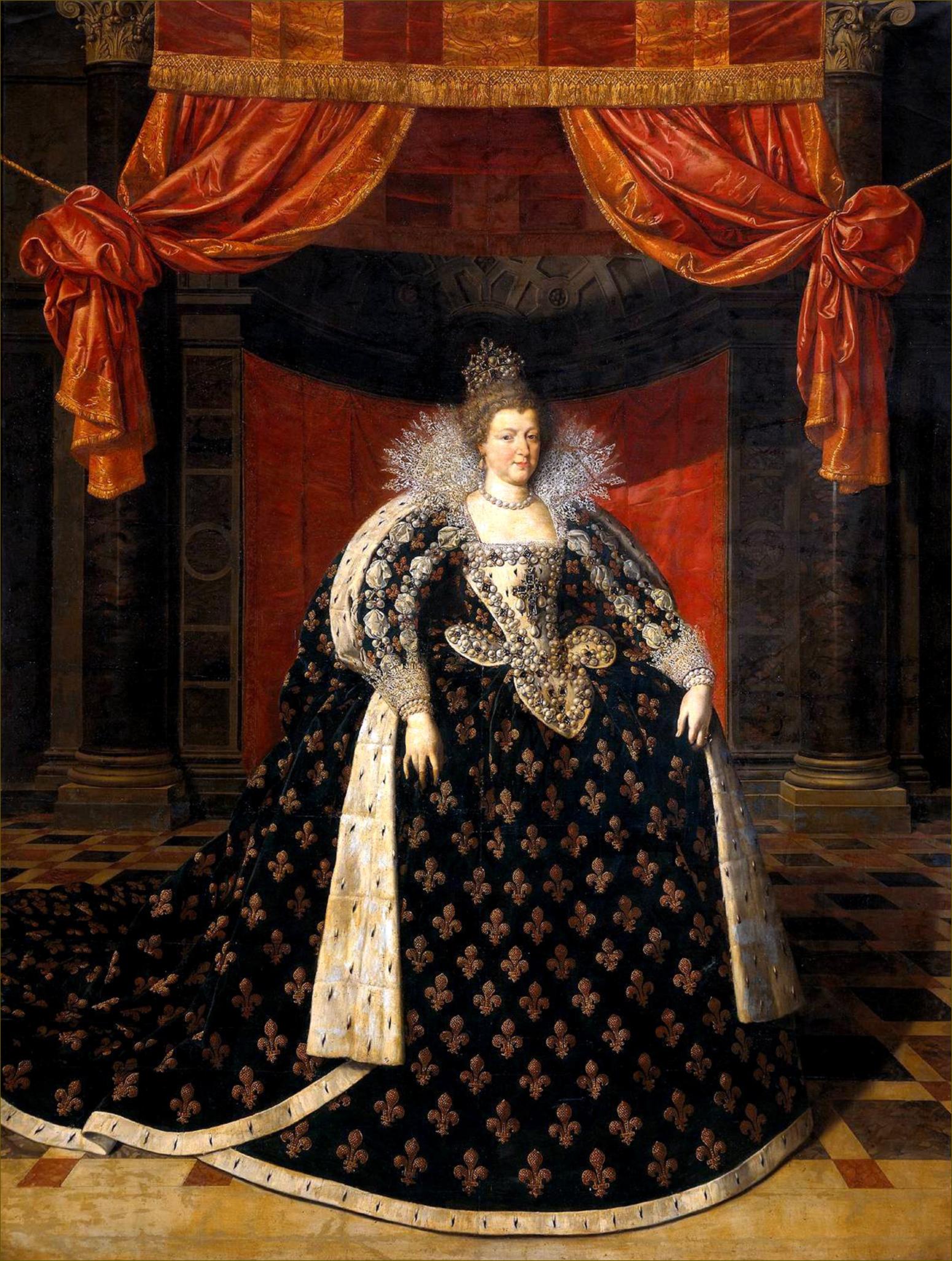 Marie de Médicis, reine de France et de Navarre, en grand costume royal, par Pourbus