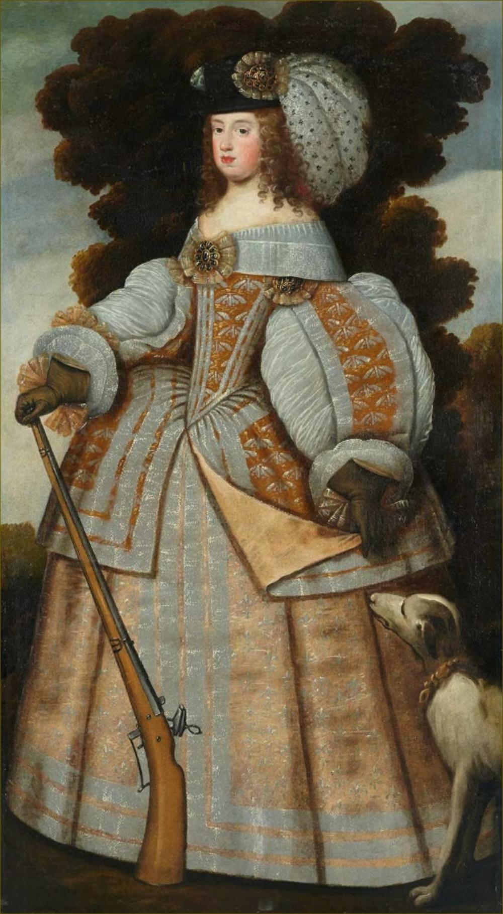 Marie-Thérèse d'Autriche, infante d'Espagne, reine de France, en habit de chasse, vers 1659-60