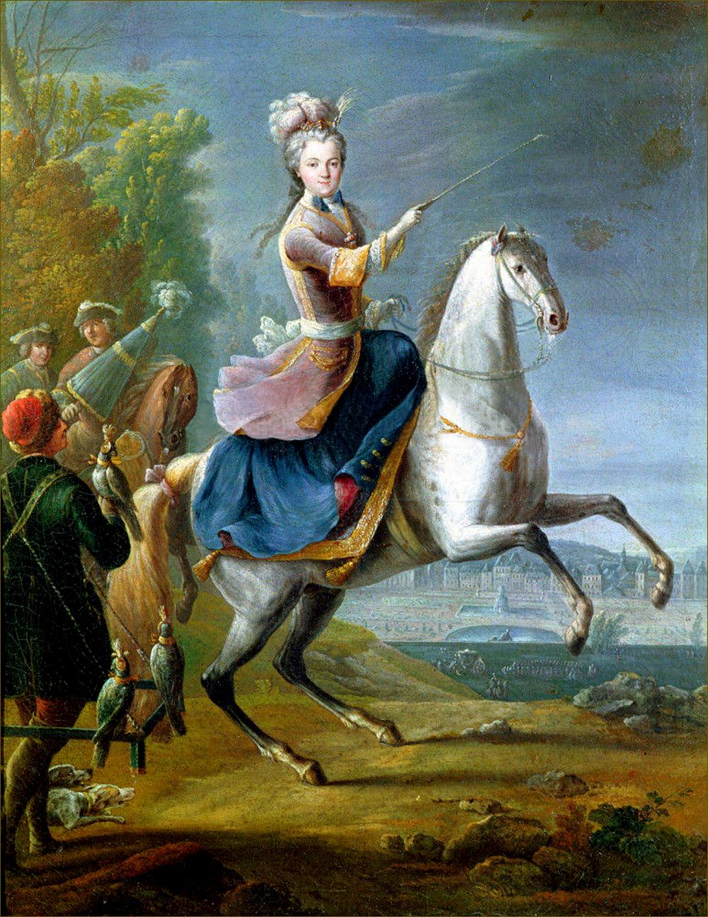 Marie Leczinska, reine de France, chassant au faucon dans le parc de Fontainebleau, par Jean-Baptiste Martin