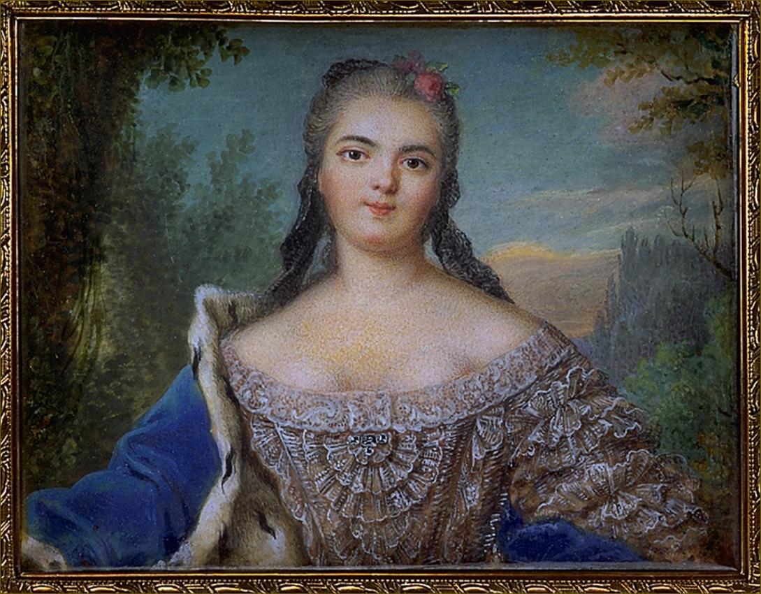 Madame Elisabeth de France, duchesse de Parme, miniature d'après Nattier