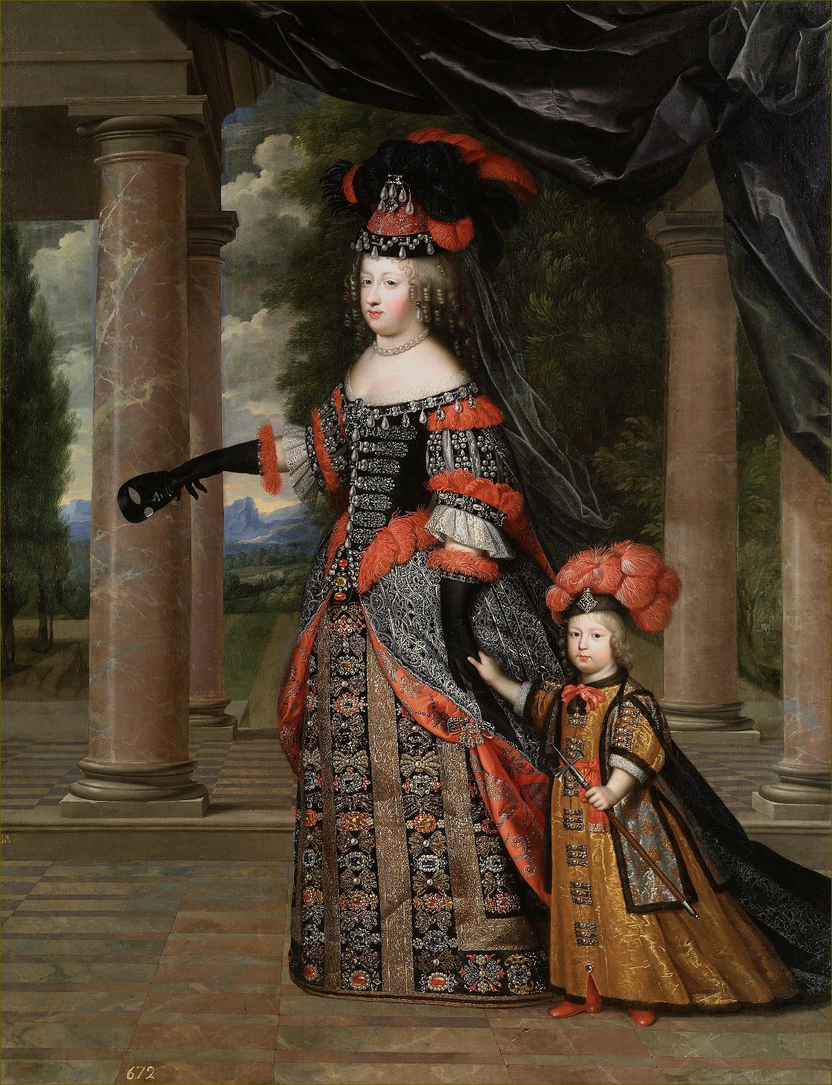 Marie-Thérèse d'Autriche, infante d'Espagne, reine de France, avec son fils le Grand Dauphin, par Beaubrun (souvent attribué à tort à Mignard)