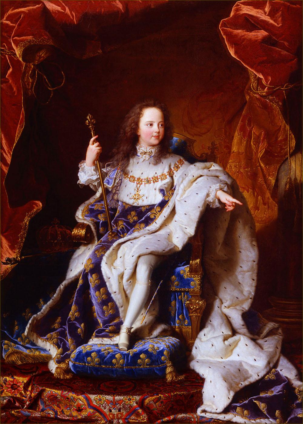 Louis XV, roi de France, âgé de 5 ans, en costume royal, en 1715, par Rigaud