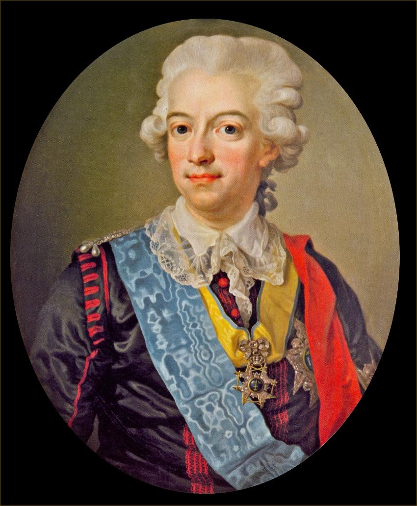 Gustave III, roi de Suède, portant le costume de cour national suédois de sa création, vers 1785, par Pasch