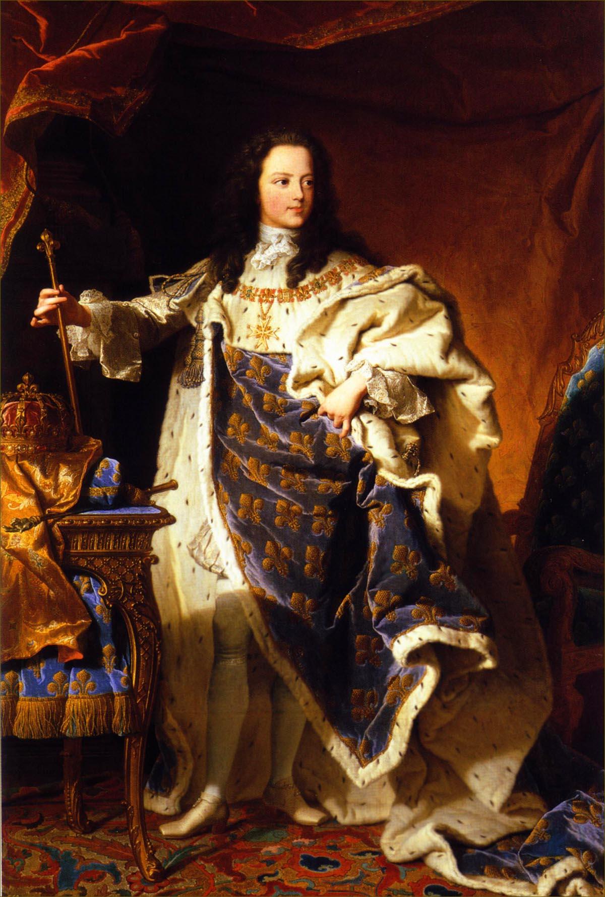 Louis XV, roi de France, âgé de 11 ans, en costume royal, en 1721, par Rigaud
