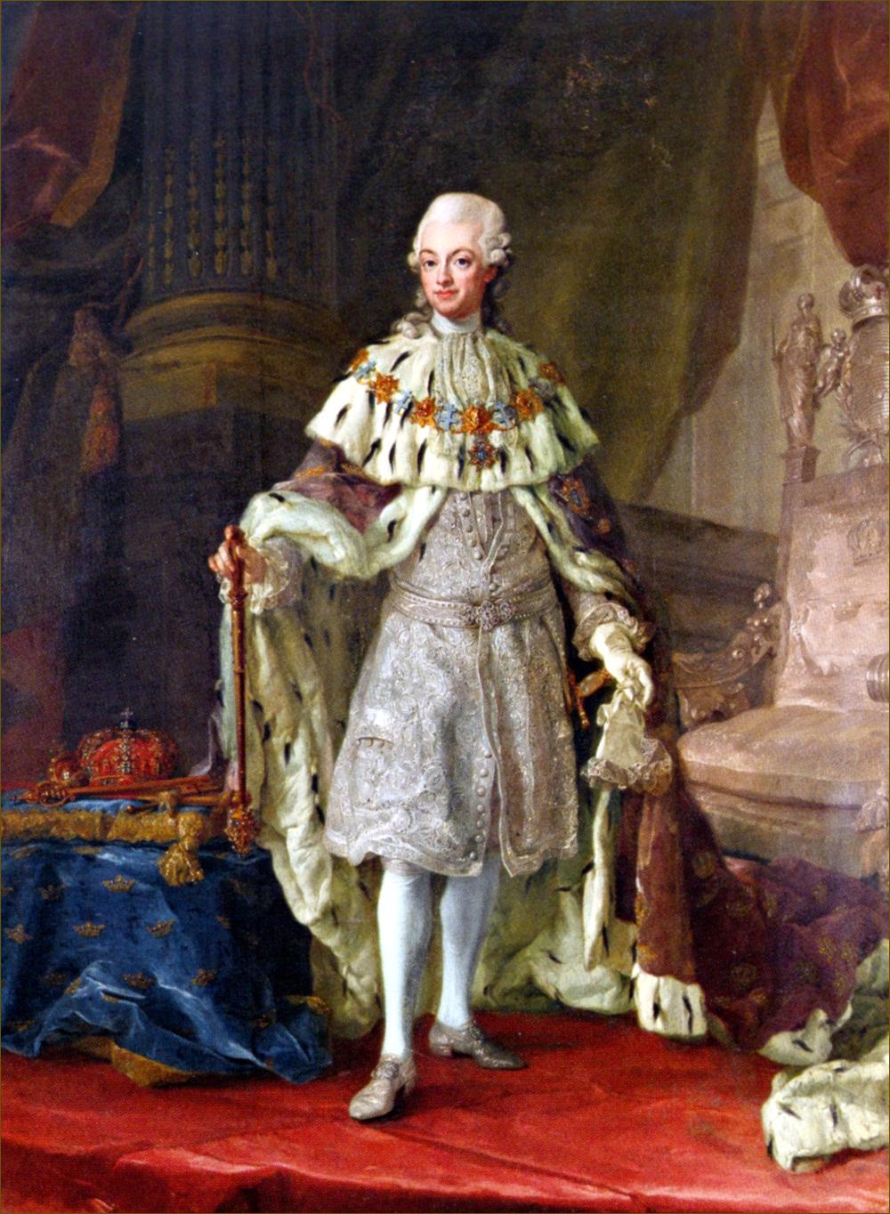 Gustave III, roi de Suède, en habit de couronnement, par Pasch