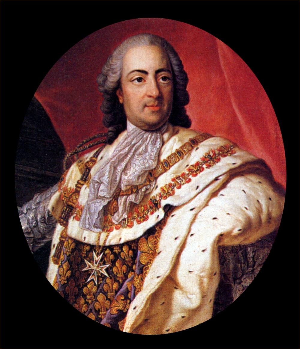 Louis XV, roi de France, âgé de 50 ans, en costume royal, en 1760, par Frédou d'après Louis-Michel Van Loo