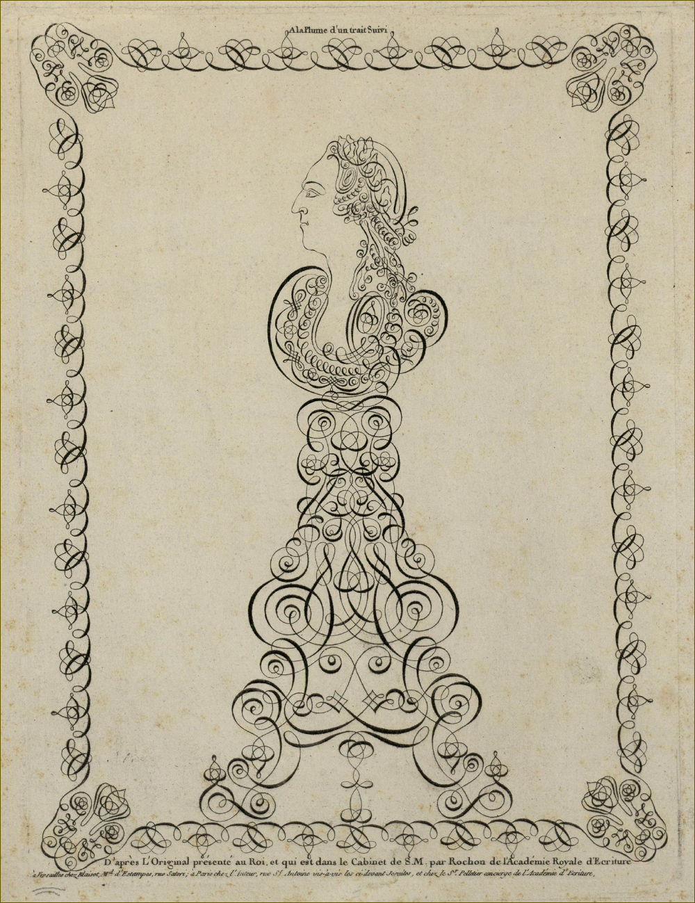 Louis XV, roi de France, dessin d'un seul trait continu, par le calligraphiste Rochon, futur maître d'écriture des enfants du comte d'Artois