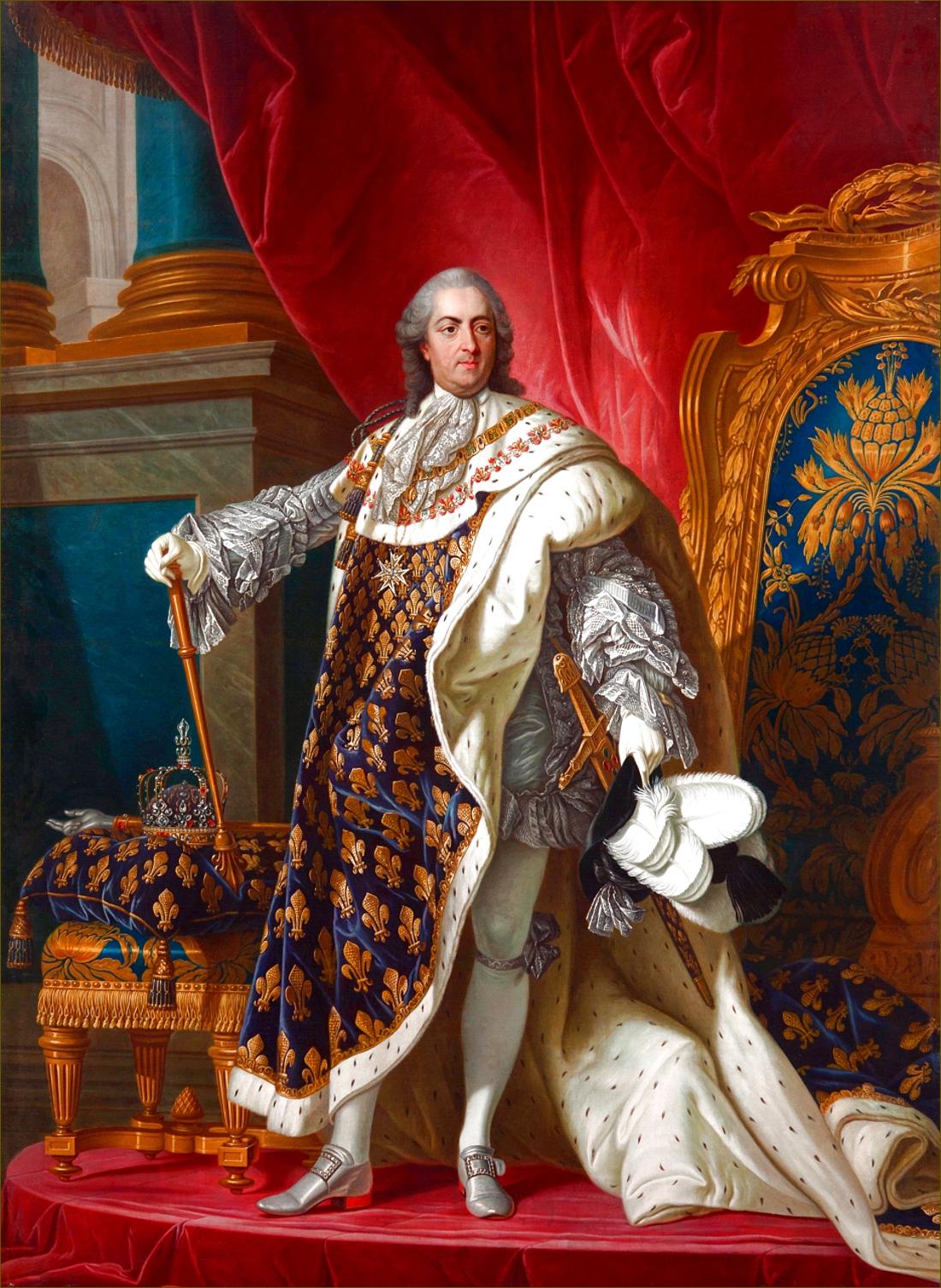 Louis XV, roi de France, âgé de 50 ans, en costume royal, en 1760, atelier de Louis-Michel Van Loo