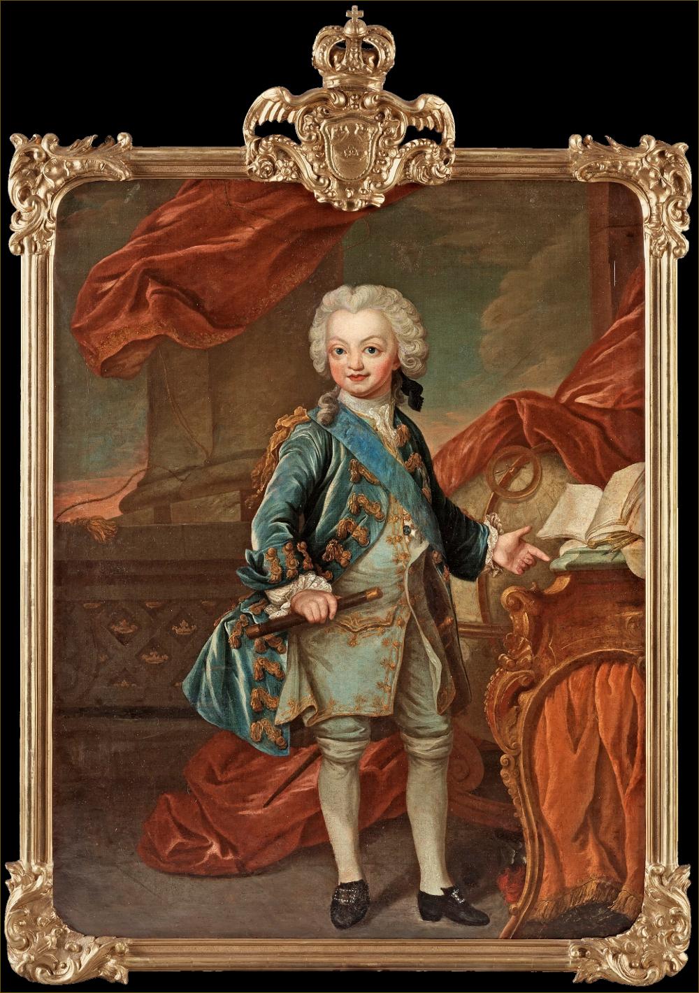 Gustave III, roi de Suède, enfant, par Pasch (reprise d'un portrait de Louis, dauphin de France, par Tocqué)